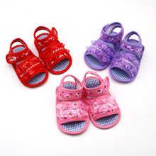 lovely and charming Newborn Baby Girls Printing Applique Prewalker Soft Sole Sandals Single ShoesSoft Bottom Casual Shoes(China)