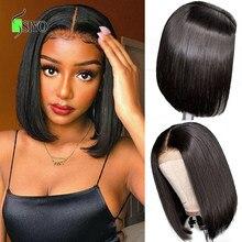 Siyo curto bob perucas brasileiras em linha reta perucas de cabelo humano 4x4 fechamento do laço peruca para as mulheres negras pré arrancadas peruca do laço 100% remy cabelo