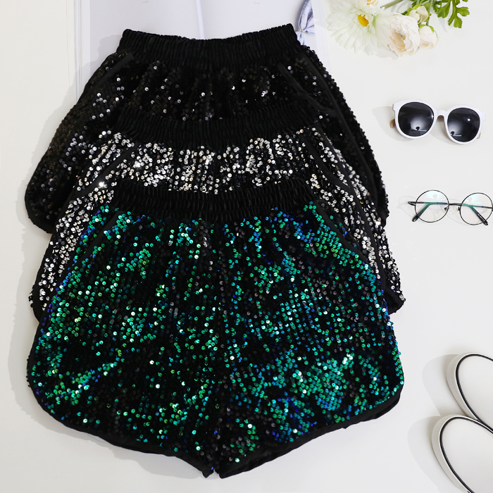 Sequined Shorts Women Spring Summer Korean Style Gold Silver Sequins Shorts Female Students Elastic Waist Loose Short Trousers