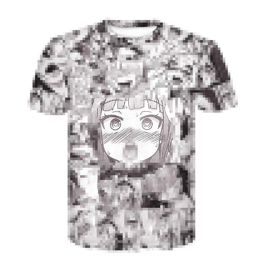 Ahegao T Shirt Summer 2019 Anime Top Short Sleeved Fashion T-shirt Hip Hop Short Sleeved Fun Casual T-shirts For Men And Women