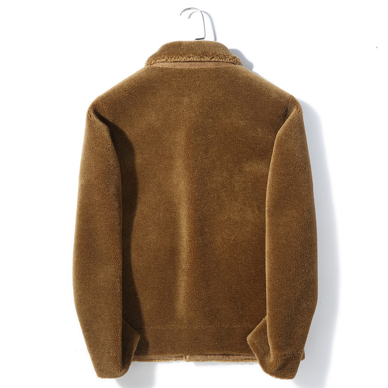2020 Real Fur Coat Men Short Autumn Winter Sheep Shearing Wool Jacket Overcoat Men's Fur Coats K9SYJI029 KJ3501