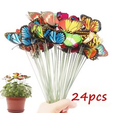 10PCS/Lot Artificial Butterfly Garden Decorations Simulation Stakes Yard Plant Lawn Decor Fake Butterefly Random Colo