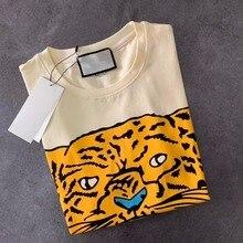 Летняя футболка s Повседневная хлопковая Футболка с принтом тигра и буквами модная уличная Мужская и wo Мужская футболка унисекс с логотипом