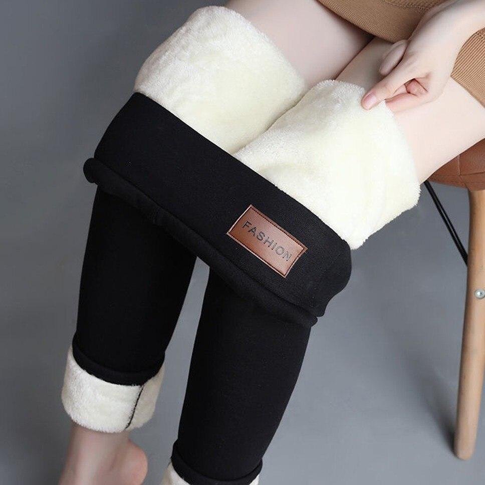 Hot Womens Warm Fleece Skinny Pants Stretch High Waist Trouser Leggings Oversize