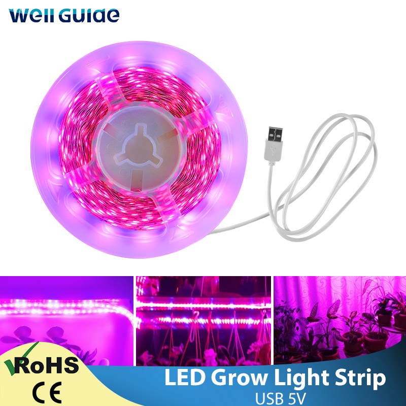 LED Grow Light Full Spectrum USB 5V LED Strip 1m2m 3m 4m 5m SMD 2835 Chip LED Phyto Lamp For Greenhouse Hydroponic Plant Growing