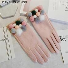 Rękawiczki marki 2020 zamszowe rękawiczki damskie kolorowa piłka zimowe rękawiczki z ekranem dotykowym moda zimowe rękawiczki dla kobiet 5 kolorów tanie tanio DANCING WINGS Dla dorosłych WOMEN Prawdziwej skóry spandex Geometryczne Nadgarstek ADC-148
