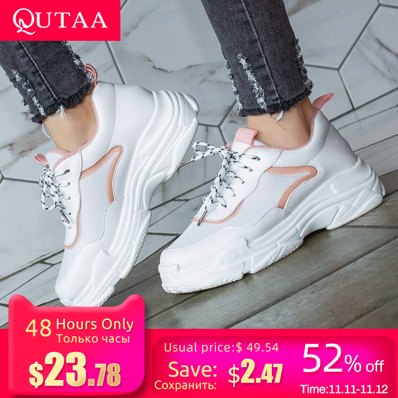 QUTAA 2020 Women Sneakers PU Leather+Mesh Cloth Lace Up Wedges Middle Heel Round Toe Leisure Ladies Soft Sole Shoes Size 34-43
