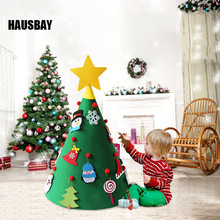 LED DIY Felt Christmas Tree 3D Decorations For Home Natal Kids New Year Gift Game Kerst Ornament Decor Dropshipping D085