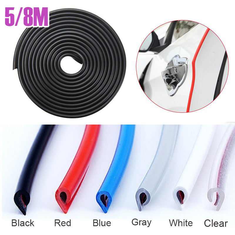 Car Door Edge Guards Strip U Shape Flexible Car Door Protector Rubber Anti-Collision Rubber Trim Seal Lining Protect from Chips,Scratches Fits for Most Universal Vehicle Red 32Ft