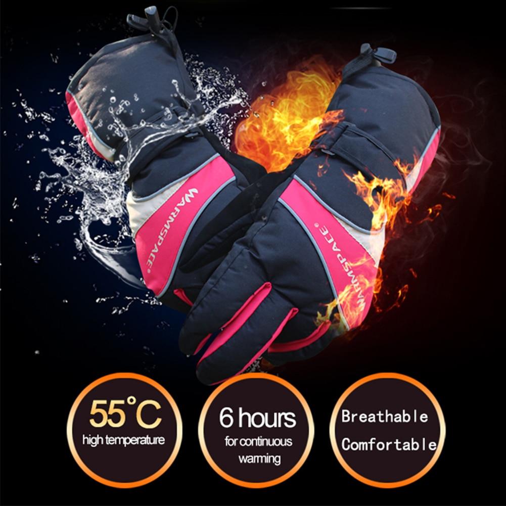 1 paire hiver chaud chauffage gants plus chaud électrique thermique gants imperméable chauffé gants avec batterie moto ski extérieur