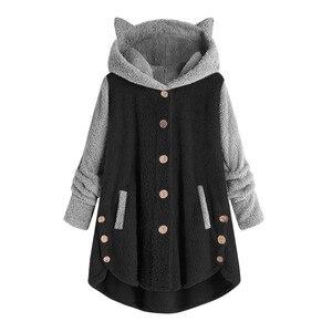 Oversize Hoodies Winter Warm Women Patchwork Hoodies Button Tops Cat Ears Hooded Pullover Sweatshirt Fleece Hoodie Streetwear