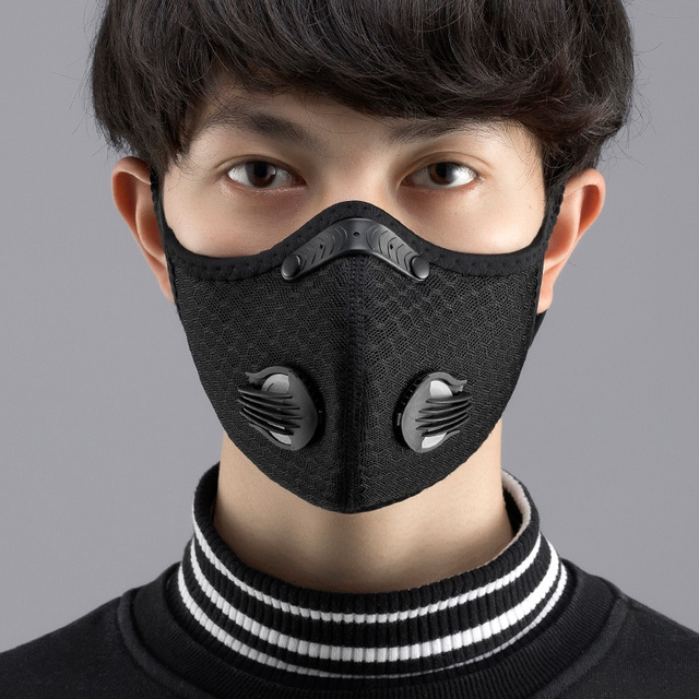 2Pcs masques Anti Face Mask for Mouth Caps Mask With Filter pm2.5 Black Reusable Respirator Protection Wholesale Protective PM25