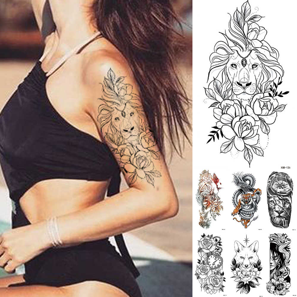 Waterdichte Tijdelijke Tattoo Sticker Kant Rose Bloemen Lion Flash Tattoos Wolf Vos Body Art Arm Fake Mouwen Tatoo Vrouwen