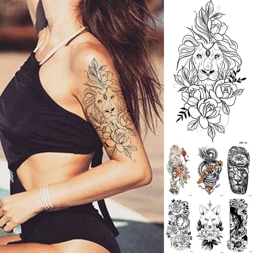 Waterproof Temporary Tattoo Sticker Lace Rose Flowers Lion Flash Tattoos Wolf Fox Body Art Arm Fake Sleeve Tatoo Women
