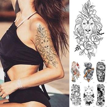 Wodoodporna tymczasowa naklejka tatuaż koronki róża kwiaty lew Flash tatuaże wilk Fox tatuaże do ciała ramię fałszywy rękaw tatuaż kobiet tanie i dobre opinie MANZILIN 21X11 5cm XQB126 Tymczasowy tatuaż
