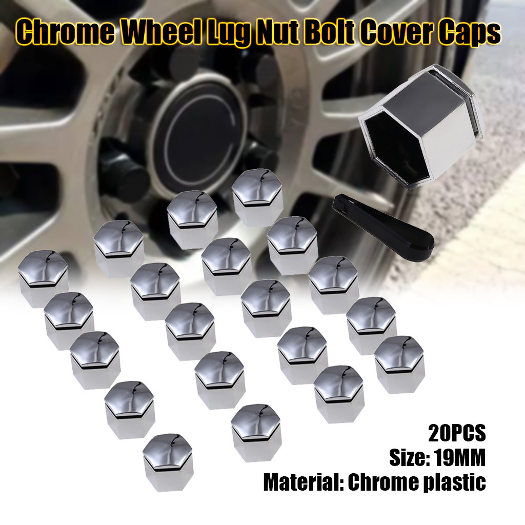 Set 20 Chrome Car Caps Bolts Alloy Wheels For Nuts Covers 17mm ABS PC Plastic