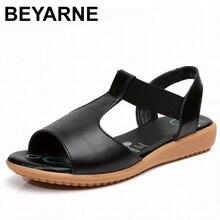 BEYARNE Sandalias planas de piel auténtica para mujer, zapatos de tacón, color negro, para verano, 2020