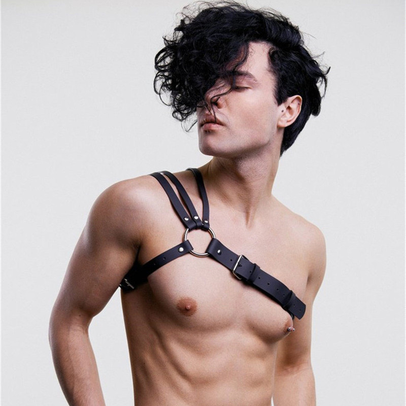 Fetish Gay Fashion Leather Men Harness Belt Sexy Punk Goth Bra Body Bondage Adjustable Chest Strap Erotic Top BDSM Suspenders