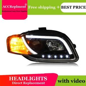 Image 3 - עבור אאודי A4 B7 2005 2008 פנסים כל LED פנס DRL דינמי אות Hid ראש מנורת Bi קסנון קרן אביזרי רכב סטיילינג