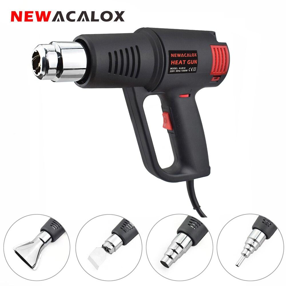NEWACALOX EU/US 1500W Industrial Electric Hot Air Gun Stepless Thermoregulator Heat Gun Plastic Torch Car Hair Dryer Tools