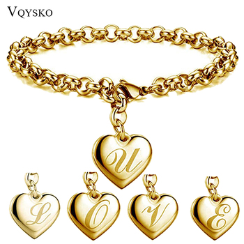 New Gold Color Initial Alphabet Heart Charm Bracelets For Women Stainless steel Link Chain Bracelet With 26 letter Engraved vintage engraved floral bracelet with ring for women