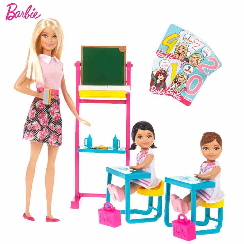 Original Barbie Brand Dreams English Teacher Job Classroom And Student For Little Girl  Birthday Present Girl Toys Gift Boneca