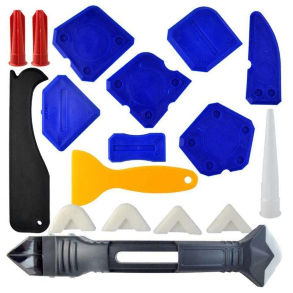 18 Pcs Home Use Durable Caulking Tool Kit Bathroom Corner Finishing Silicone Sealant Sealing Grout Scraper For Kitchen DIY