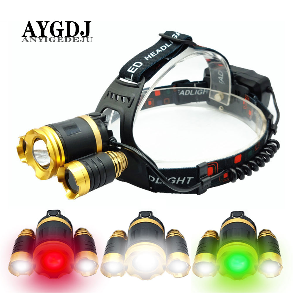 XML-T6 2*XPE LED Headlamp Zoomable Headlight 18650 Battery Head Torch Green Fishing White Light Camping Red Hunting Flashlight
