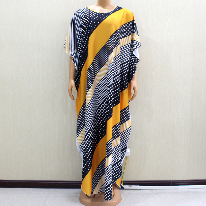 2020 Beautiful African Dashiki O-Neck Fashion Beautiful Yellow Print African Women Long Dress