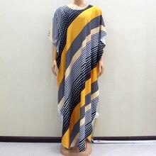 Vestido largo africano hermoso Dashiki cuello redondo de moda hermoso estampado amarillo Mujer Africana 2020