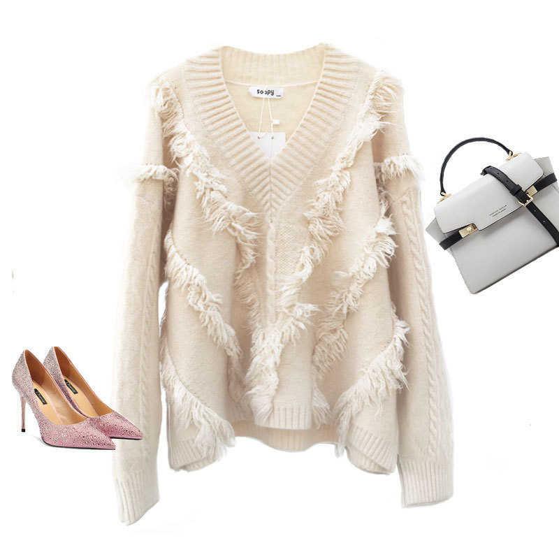 Otoño Invierno sólido Kintted v-cuello suéter mujeres Camiseta holgada casual Feamle manga larga Kint suéteres con borla