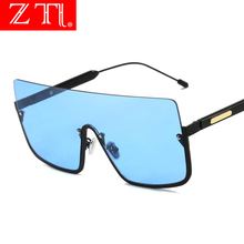ZT Square Windproof Driving Shades Half Frame Sunglasses Oversize Cool Eyewear Women Ocean Sun Glasses Men
