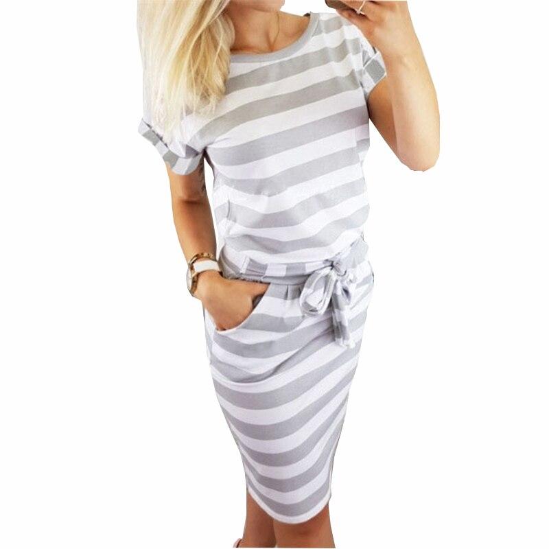 Elegant New Striped Summer Dress  Women Casual Vintage Dress Sexy Bandage Bodycon Short Sleeve Dresses Sundress Robe GV560