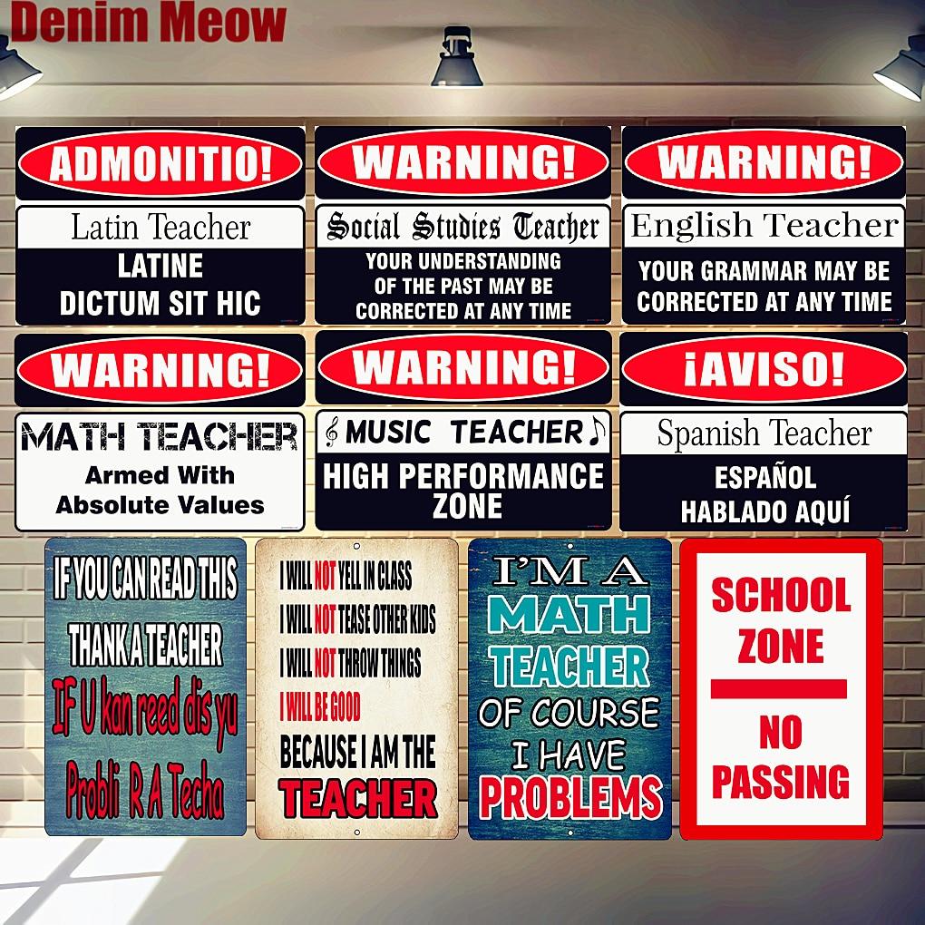 Placa de Zona escolar Matemática Professor de Música Latina Sinal Da Lata Do Metal Do Vintage Decoração Escola Cartazes de Advertência Engraçado Palavra Cartaz Arte Da Parede n314