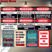 School Zone Plaque Math Music Latin Teacher Vintage Metal Tin Sign Decor Warning Posters Funny Word Wall Art Poster N314