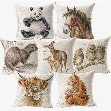 Ручная роспись Животные с пандой, накидки на подушки, милый коала Сова выдра Альпака чехол для подушки Чехол для детей