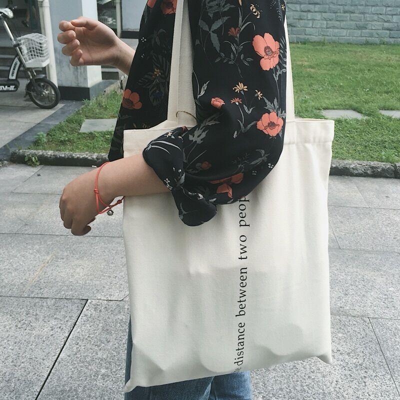 Women Canvas Bags Letter Printing Tote Shopping Bags Casual Cloth Shoulder Bag For Girls Ladies Shopper Bags With Zipper