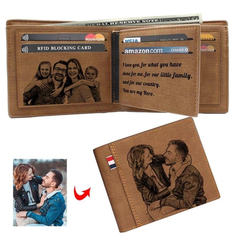 Obraz grawerowanie portfel portfel ze skóry PU Bifold niestandardowe zdjęcie grawerowane portfel upominki świąteczne dla niego niestandardowy spersonalizowany portfel