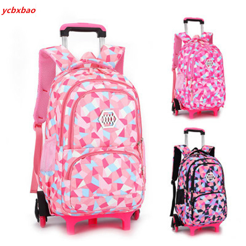 Travel Backpack Luggage-Bags Trolley Schoolbag Wheels Orthopedic Primary Girls Children title=