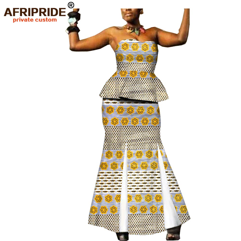 2019 africa new fashion clothes 2 pieces skirt set for women AFRIPRIDE strapless top floor length