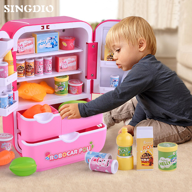 Dollhouse Funny Kawaii Food Kids Toys Drinks Miniatures Children's Household Set Mini Accessories Fridge Freezer Toys For Dolls