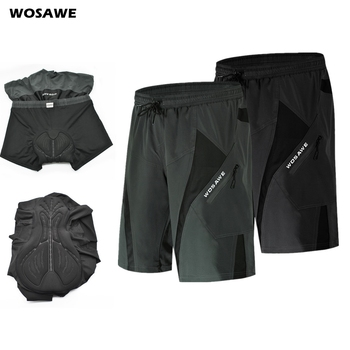 WOSAWE Mens's Summer Cycling Shorts with 3D Padded Underwear Loose fit Shockproof MTB Bicycle Downhill Shorts Road Bike Shorts wosawe women cycling triangle shorts bike underwear 3d padded outdoor riding mtb bicycle bike underpants