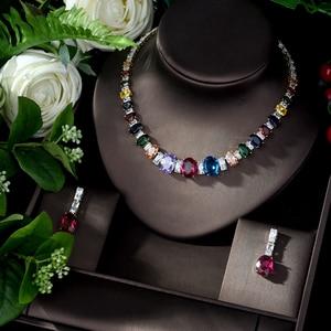 Image 1 - HIBRIDE Elegant Luxury Wedding Accessories Bride Jewelry Set CZ Drop Earrings Necklace Set parrure bijoux femme mariage N 1078