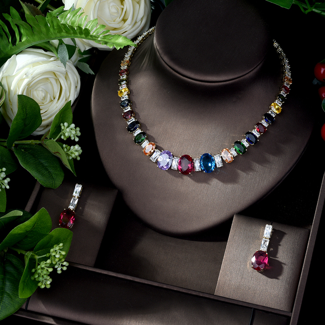 HIBRIDE Elegant Luxury Wedding Accessories Bride Jewelry Set CZ Drop Earrings Necklace Set parrure bijoux femme mariage N 1078