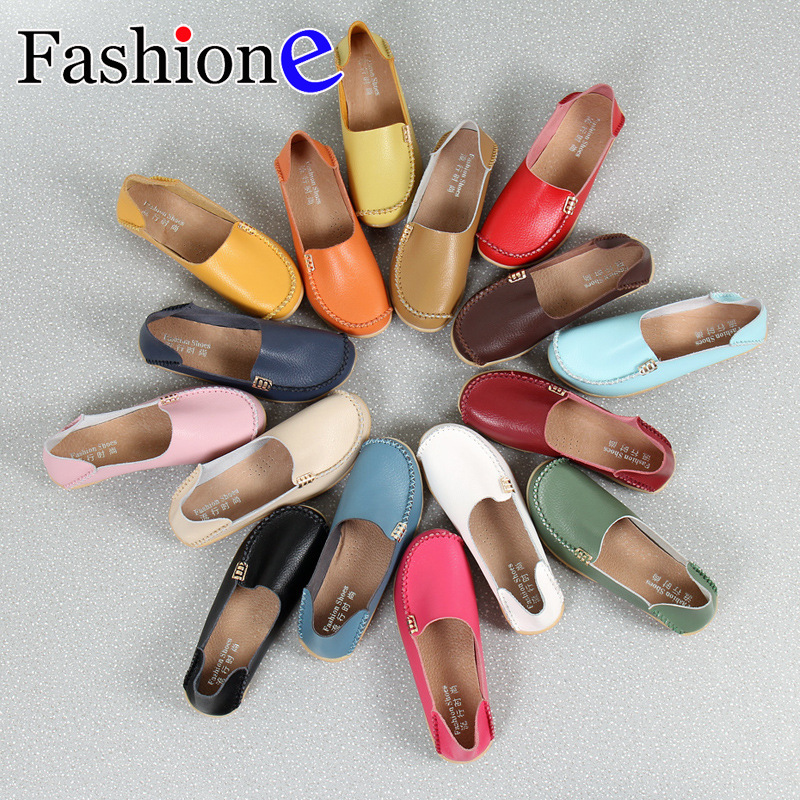 Leisure female mother shoes small white shoes leather flat-heeled flat-bottomed non-slip nurse shoes large size women's shoes image