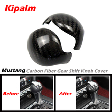 Kipalm For Ford Mustang Carbon Fiber Gear Shift Knob Cover and Ford Mustang Accessories Interior Gear Shift Knob Handle Sticker
