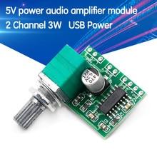 Pam8403 5v potência amplificador de áudio 2 canais 3w controle de volume usb power