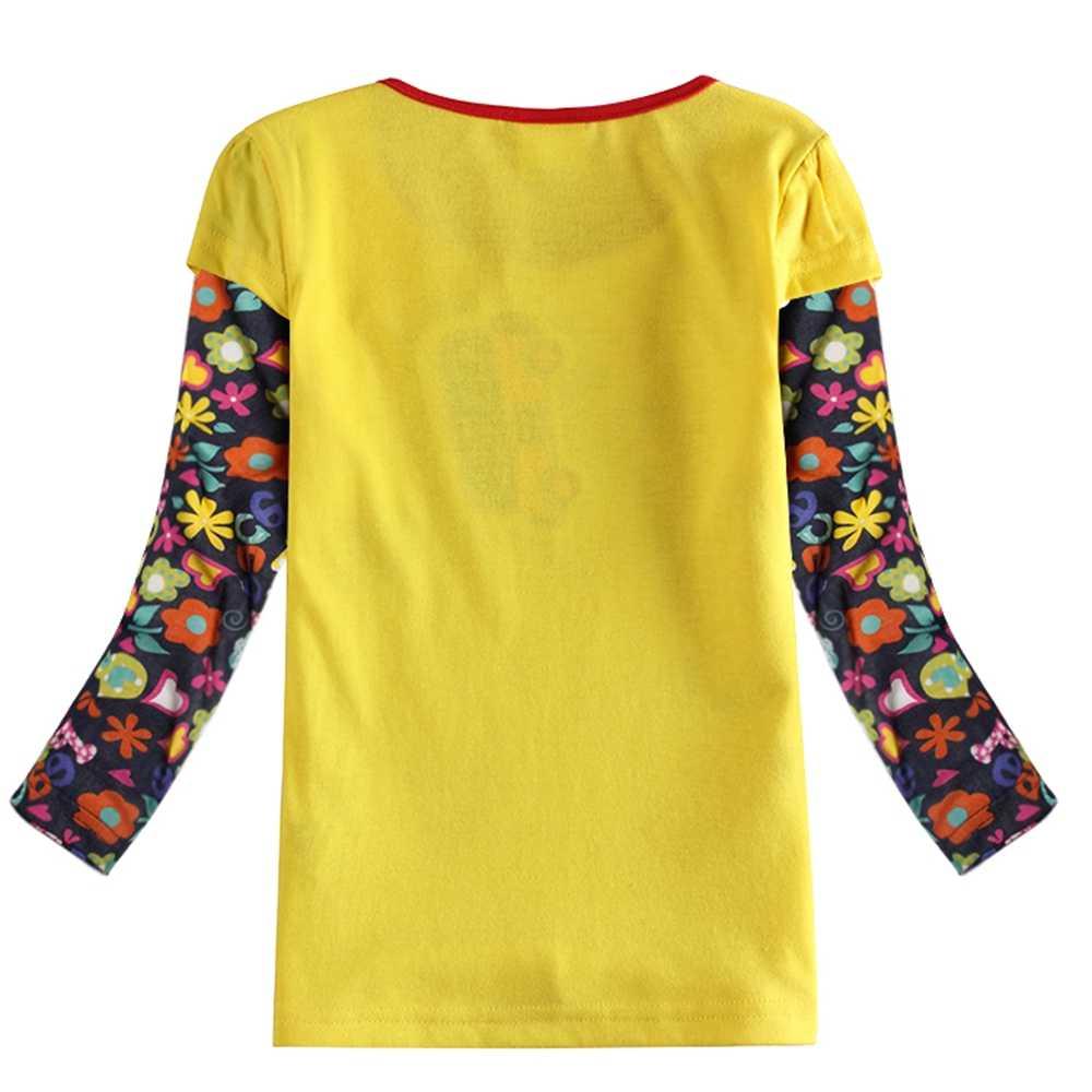 JUXINSU Benim Küçük Kızlar Pony Karikatür pamuklu uzun kollutişört T-shirt Çiçek kollu Sonbahar Kış Kız Moda Rahat gömlek 1-6 Yıl