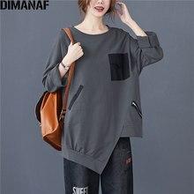 DIMANAF 2020 Plus Size Women T-Shirt Casual Vintage Patchwork Zipper Pullover Cotton Solid Autumn Tee Shirt New Big Size Tops