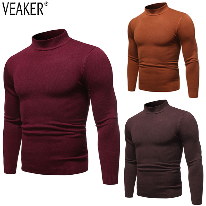 2019 New Men's Sexy Slim Fit Turtleneck Sweater Pullover Male Autumn Solid Color Long Sleeve High Neck Knitted Sweater Pullovers